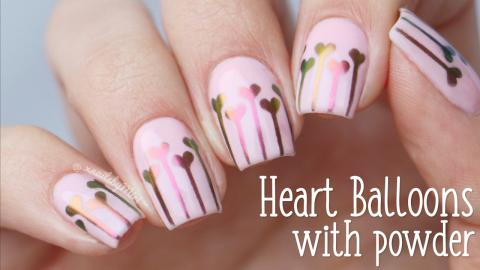 Valentine Heart Balloons Using Vinyls And Powder By Whats Up Nails
