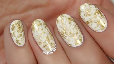 Easy Gold Marble Nails With A Toothpick
