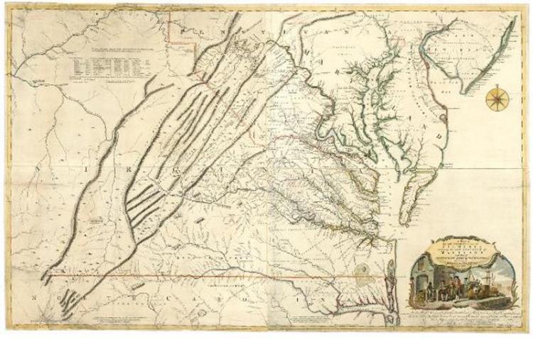 Joshua Fry-Peter Jefferson map of Virginia, 1750s
