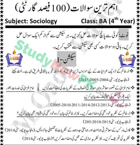 BA Sociology Part 2 Guess Paper Punjab University