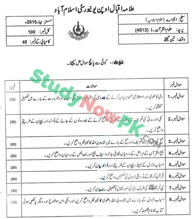 AIOU-MA-Islamic-Studies-Code-4613-Past-Papers-Spring-2015