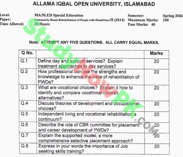 AIOU-MA-Special-Education-Code-3614-Past-Papers-Spring-2014
