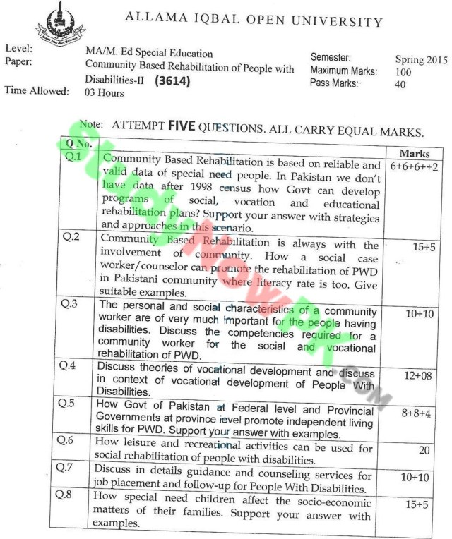 AIOU-MA-Special-Education-Code-3614-Past-Papers-Spring-2015