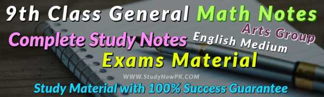 Download 9th Class General Math Notes English Medium