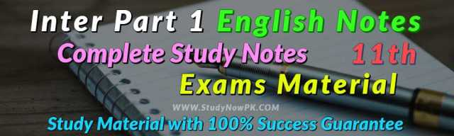 Download English Notes Inter FA FSc Part 1 English Book 1 & 3