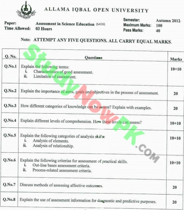 AIOU-BEd-Code-6436-Past-Papers-Autumn-2012