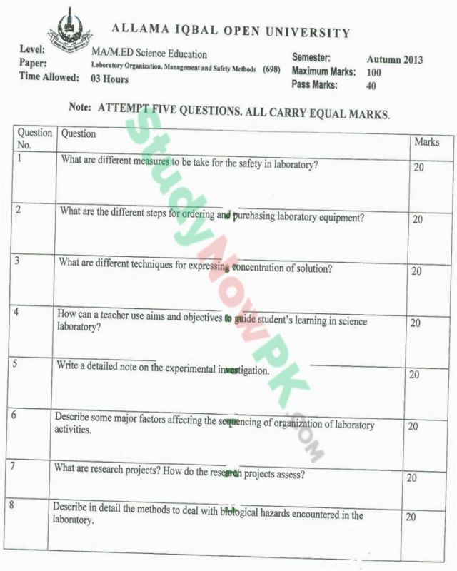 AIOU-MEd-Code-698-Past-Papers-Autumn-2013
