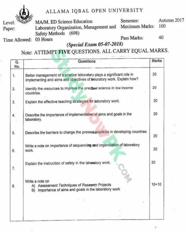 AIOU-MEd-Code-698-Past-Papers-Autumn-2017
