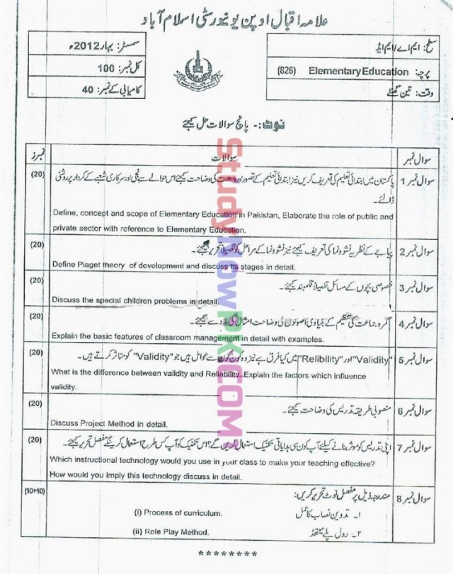 AIOU-MEd-Code-826-Past-Papers-Spring-2012