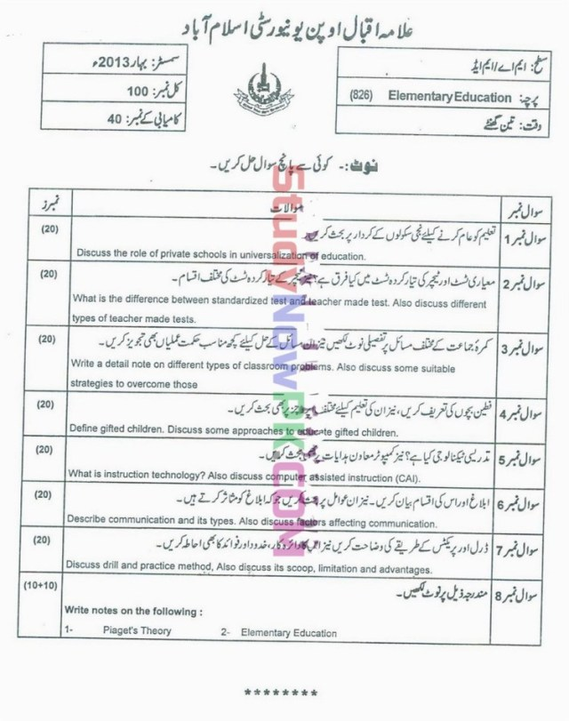AIOU-MEd-Code-826-Past-Papers-Spring-2013