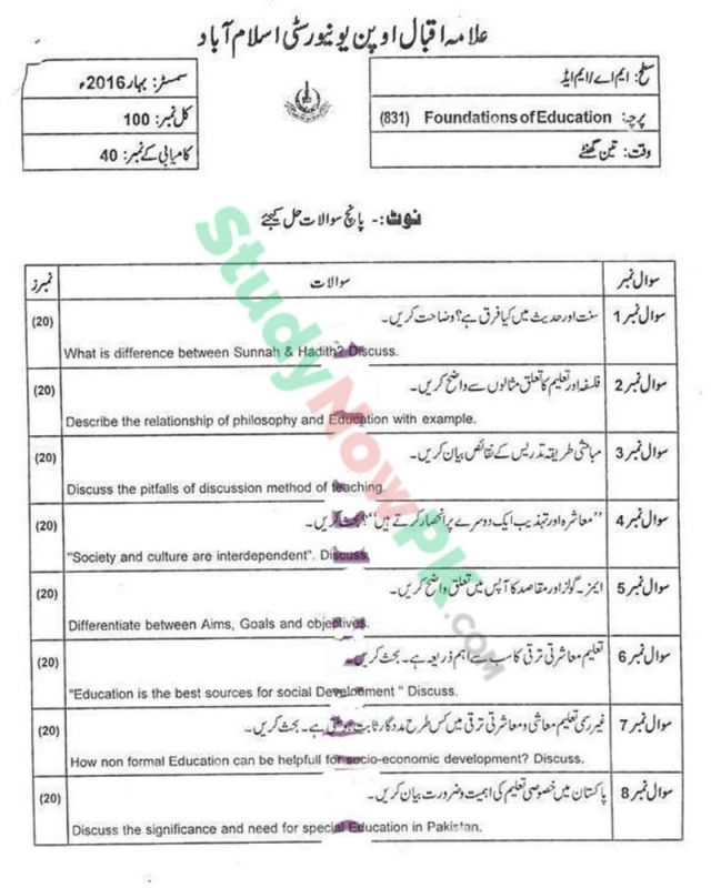 AIOU-MEd-Code-831-Past-Papers-Spring-2016