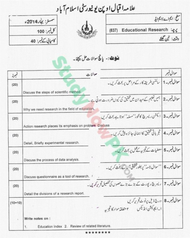 AIOU-MEd-Code-837-Past-Papers-Spring-2014