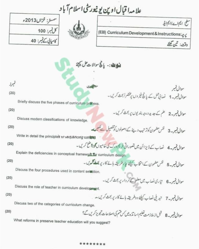 AIOU-MEd-Code-838-Past-Papers-Autumn-2013