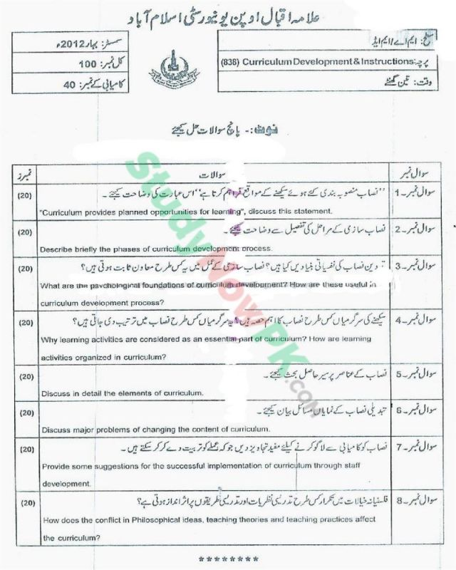 AIOU-MEd-Code-838-Past-Papers-Spring-2012