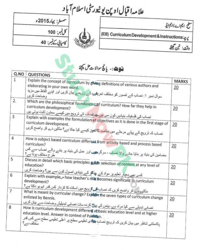 AIOU-MEd-Code-838-Past-Papers-Spring-2015