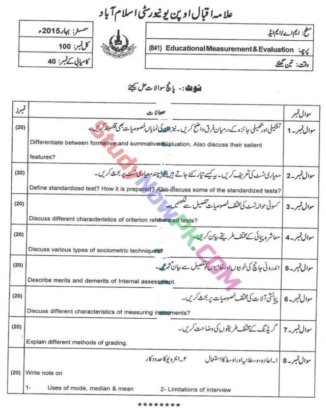 AIOU-MEd-Code-841-Past-Papers-Spring-2015