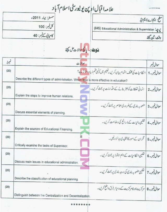 AIOU-MEd-Code-845-Past-Papers-Spring-2011