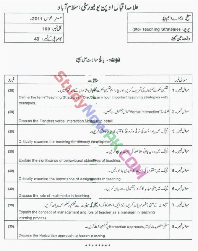 AIOU-MEd-Code-846-Past-Papers-Autumn-2011