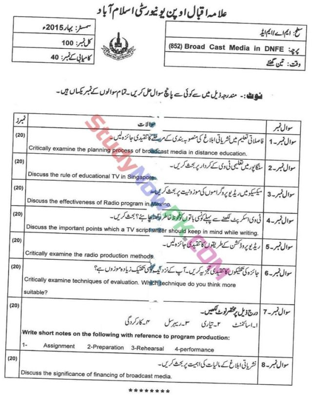 AIOU-MEd-Code-852-Past-Papers-Spring-2015