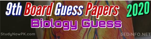 9th Biology Guess Papers with Sure Success Latest 2020