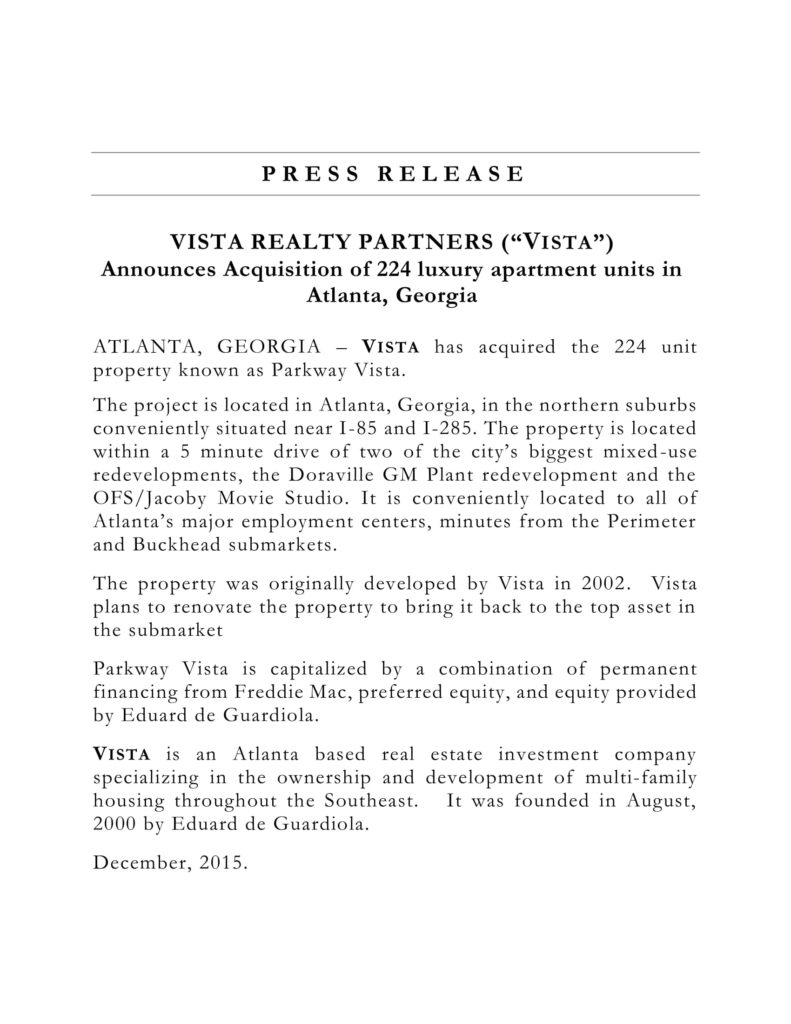 eduard de guardiola press release
