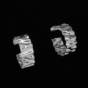 hand wrinkled sterling silver hoop earrings