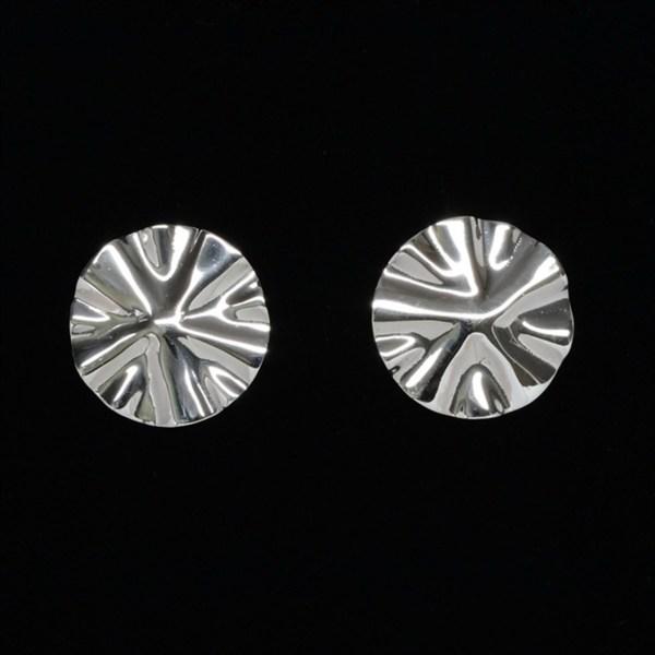 hand wrinkled sterling silver post earrings