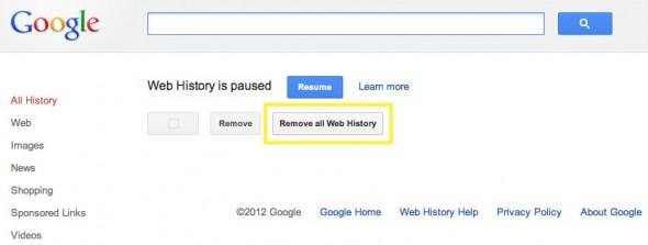 erasing Google's web search