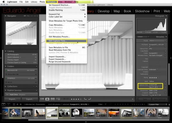 Editing Capture Time in Adobe Lightroom