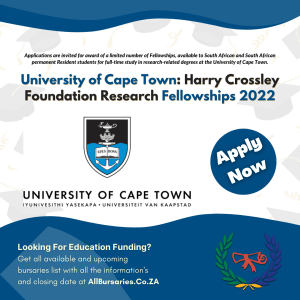 University of Cape Town: the Harry Crossley Foundation Research Fellowships 2022