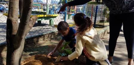 Plantio de mudas com alunos da E.M. Dorvalino de Oliveira