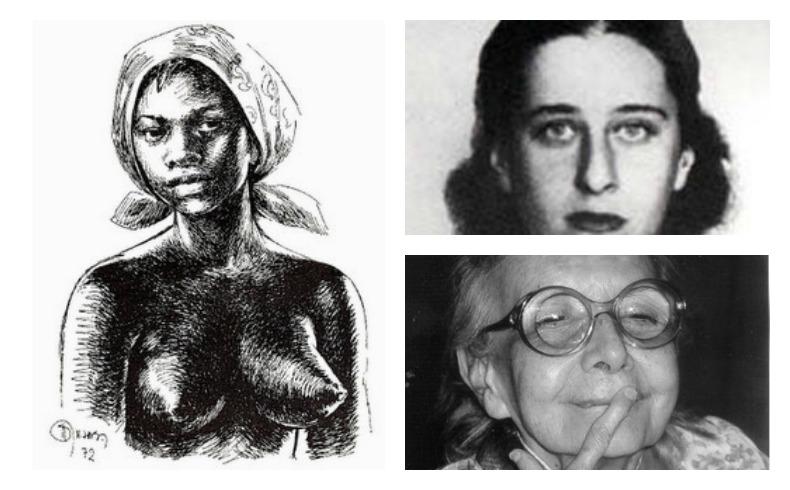 À esquerda, Dandara (Dandara foi uma guerreira negra do que lutou contra a escravidão durante o período colonial do Brasil); acima, a militante comunista Olga Benário; abaixo, a psiquiatra Nise da Silveira.
