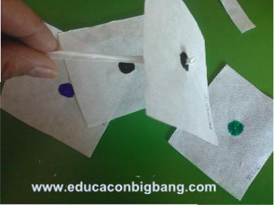 Insertando el canutillo en el cuadrado de papel