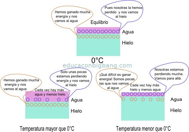 intercambio de moleculas en la interfase agua hielo