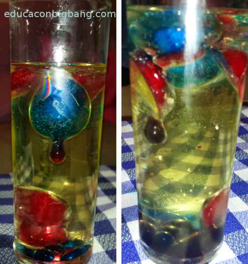 Hielo flotando en aceite