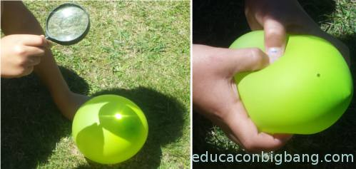 globo verde claro con agujero
