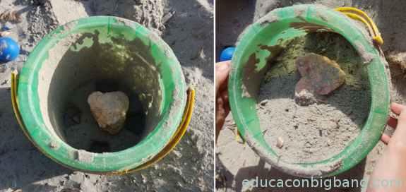 Repeticion del experimento con una piedra.