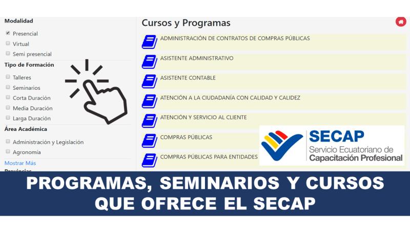 Programas, Seminarios y Cursos que ofrece el SECAP 2020
