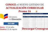 Nuevo listado de Actualización Curricular 2017 promo 16