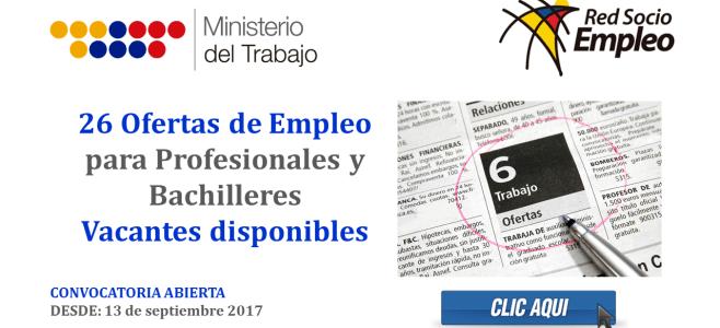 26 Ofertas de Empleo para Profesionales y Bachilleres - Vacantes disponibles