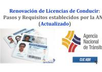 Renovación de Licencias de Conducir: Pasos y Requisitos establecidos por la ANT - Actualizado