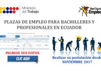 Plazas de empleo para Bachilleres y Profesionales en Ecuador (Noviembre 2017 - Vacantes disponibles)