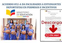 Acuerdo 052-A del MinEduc da facilidades a Estudiantes Deportistas en Permisos e Incentivos