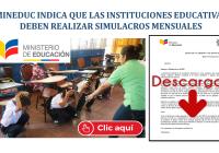 MinEduc indica que las Instituciones Educativas deben realizar Simulacros Mensuales