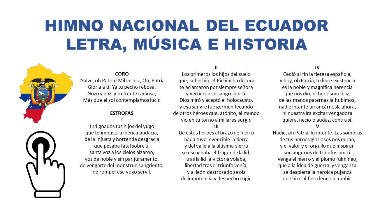 Himno Nacional Del Ecuador Letra Completa Musica E Historia