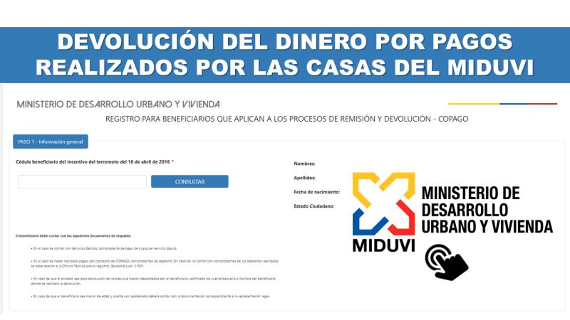 Devolución del Dinero por Pagos realizados por las Casas del Miduvi