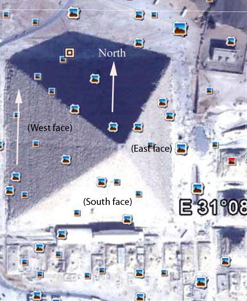 Great Pyramid from 3500 feet aligned true north