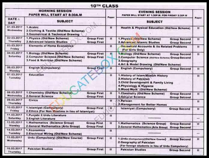 10th Class Date sheet 2017 Multan Board (BiseMultan)