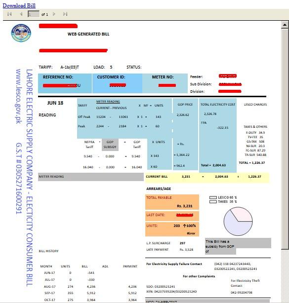 Wapda Lesco Bill - Web Generated Wapda Bill