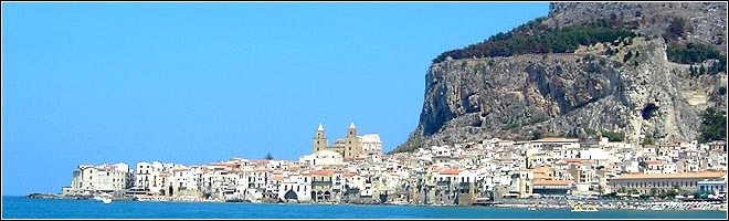 Cefalu from a distance, La Rocca clearly visible behind